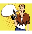 Woman with drill in retro vector image vector image