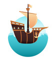 wooden ship in the ocean vector image