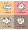 Handmade emblems with hands vector image