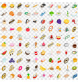 100 grocery shopping icons set isometric 3d style vector image vector image