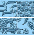 4 seamless wavy abstract patterns vector image