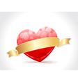 a beautiful valentine card with golden ribbon vector image