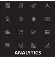 analytics editable line icons set on black vector image vector image