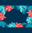 background with hibiscus flowers and palm leaves vector image