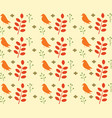 bird and leaves seamless pattern vector image vector image