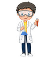 boy in science gown holding beakers vector image vector image