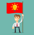 businessman holding victory flag vector image vector image