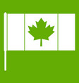 canada flag with flagpole icon green vector image vector image