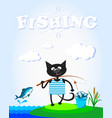 cat on fishing fun vector image vector image