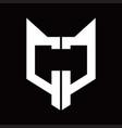cc logo monogram with fox head shape design vector image vector image