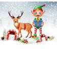 christmas background with elf and deer vector image vector image