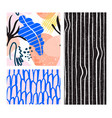 collage contemporary floral and stripes shapes vector image vector image