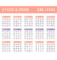 collection linear icons food and drinks vector image vector image