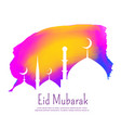 creative eid festival design with colorful ink vector image vector image