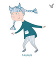 cute girl in the form of zodiac sign taurus vector image