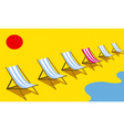 deckchairs on beach vector image vector image