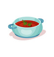 delicious tomato soup in blue saucepan icon of vector image