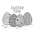 easter time poster with decorative easter eggs in vector image