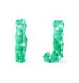 Emerald green polygonal font vector image vector image