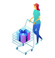 female shopper with gift box in shopping cart vector image