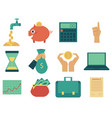 flat business finance banking money symbol vector image