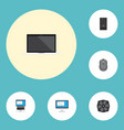 flat icons system unit laptop computer mouse and vector image vector image