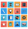 flat media and office icons with long shadow seo vector image