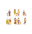 flat set of families parents with kids vector image