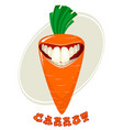 funny carrot on white vector image vector image