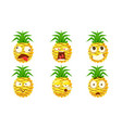 funny pineapple character set cute tropical fruit vector image vector image
