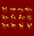 gold chinese horoscope zodiac animals vector image vector image