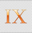golden roman numeral number 9 ix nine in vector image