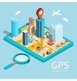 GPS route map City navigation app vector image