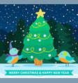 greeting card with fir-tree merry xmas bird vector image vector image