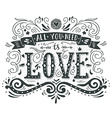 Hand drawn vintage print with hand lettering and vector image