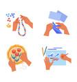 handicraft art human hands craft hobor pastime vector image vector image