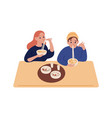hipster man and woman eating noodles at restaurant vector image