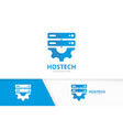 host and gear logo combination server and vector image