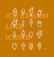 ice cream linear icons invert vector image