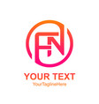 initial letter fn logo template colorfull circle vector image vector image