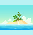 landscape with tropical island - scenic vector image