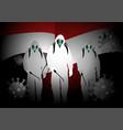 men in hazmat suits carrying disinfectant sprays vector image