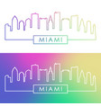 miami skyline colorful linear style vector image vector image