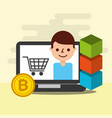 online shopping e-commerce bitcoin blockchain vector image vector image