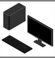 personal computer case keybord and monitor vector image vector image