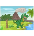 Prehistoric scene with tyrannosaurus cartoon vector image vector image