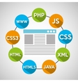 programming languages web page vector image vector image