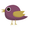 purple bird on white background vector image vector image