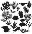 reef animals and corals silhouette set vector image