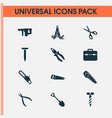 repair icons set with bolt toolbox electric vector image